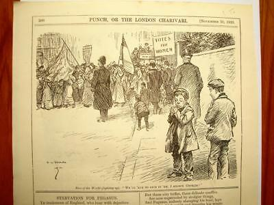 SUPERB ANTIQUE ORIGINAL PERIOD EARLY 1900`s POLITICAL SUFFRAGETTE CARTOON # 26