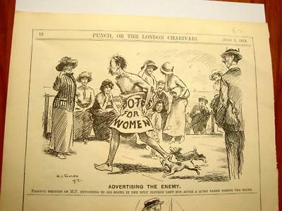 SUPERB ANTIQUE ORIGINAL PERIOD EARLY 1900`s POLITICAL SUFFRAGETTE CARTOON # 22
