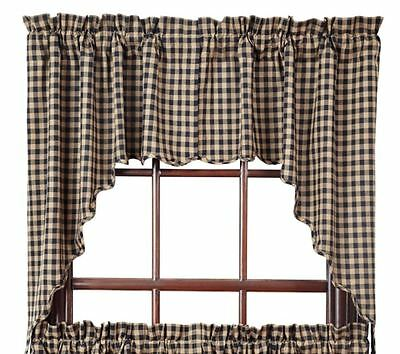 Primitive Country Black Check Lined Swag Curtains 72WX36L Cotton Check Size 1/2""