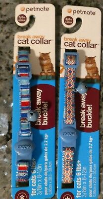Lot Of 2 Petmate Break Away Buckle Cat Collars Light Blue/multi With Bell