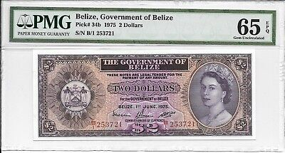Belize, Government of Belize - $2, 1975. PMG 65EPQ.