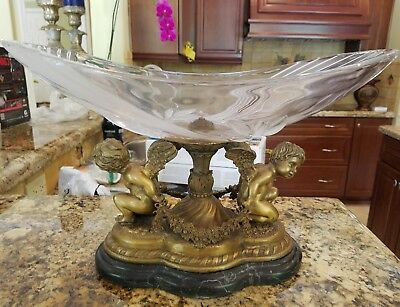 20Th C Bronze Angel Compote With Crystal Top On Marble Base Nice Decorator Item