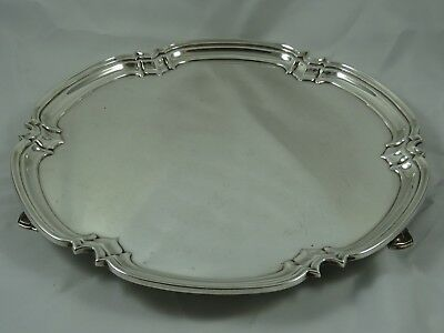 STUNNING ART DECO solid silver SALVER, 1938, 927gm