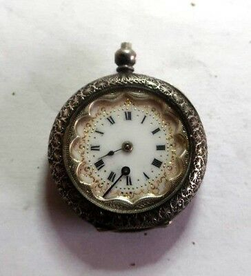 Antique Ladies Silver Enamelled Dial Pocket Watch