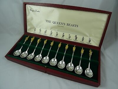 BOXED set solid silver `QUEEN`S BEASTS` SPOONS, 1972, 352gm
