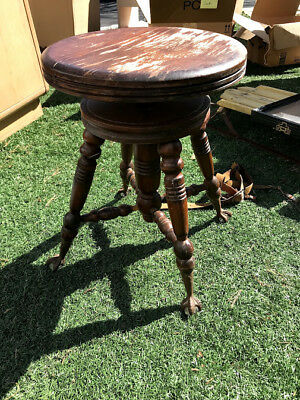 Antique Stool with Eagle Claw Glass Ball Feet