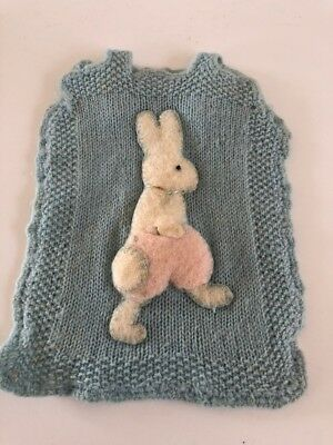 vintage knitted Baby's ?bib/hot Water Bottle Cover