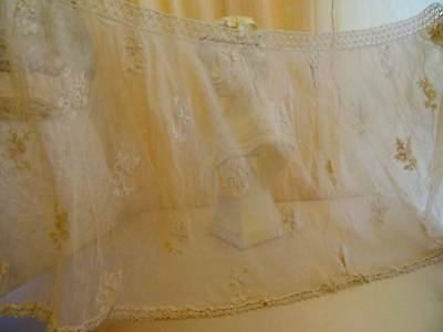 A Beautiful Antique Embroidered On Tulle Skirt Flounce C.1900