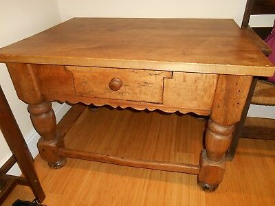 Original Victorian Oak Hall Side Table Dining Writing Single Drawer Chunky Legs