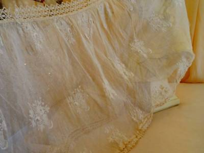 Beautiful Antique Embroidered floral Baskets On Tulle Skirt Flounce C.1900