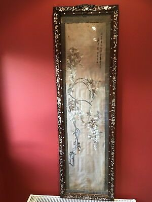 antique chinese silk embroidery In Chinese Mop Inlaid Frame