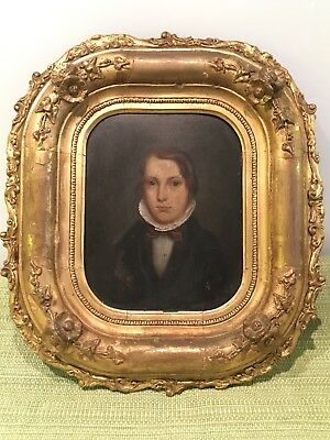 Antique 18th/19th Century Portrait Oil On Board In Charming Gilt wood Frame