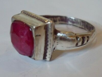 A GENUINE,DETECTOR FIND, 200-400 A.D ROMAN SILVER RING WITH REAL 2 ct RUBY.