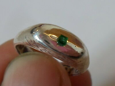 A Genuine,detector Find, 200-400 A.d Roman Silver Ring With Real Emerald.