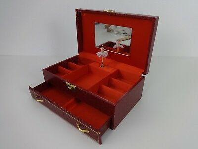 Vintage Ballerina Music Box Red Gold Laurel Japan Musical Jewellery With Drawer