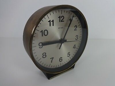 Metamec Clock Vintage Round Mid Century Sweeping Hand Wall / Mantle English Made