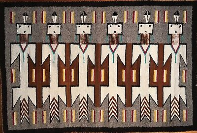 """Exceptional Vintage NAVAJO """"DON TSO"""" DRAGONFLY YEI RUG,Turquiose!,Mint Condition"""