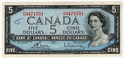 1954 Bank Of Canada Five 5 Dollar Bank Note Tx 0471551 Nice Bill
