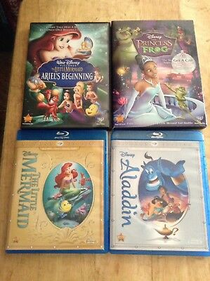 4 Disney Dvds The Little Mermaid Ariels Beginning Aladdin Princess And The Frog