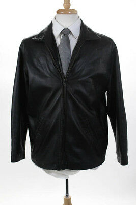 Mitici Anni Go Mens Black Leather Zip Front Jacket Size Small