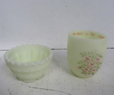 Hand Painted Signed Fenton Decorative Yellow Floral Candle Holder Votive Pieces
