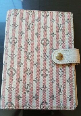 Louis Vuitton Mini Lin Canvas Pink PM Agenda AUTHENTIC (LIGHT USAGE RARE FIND)