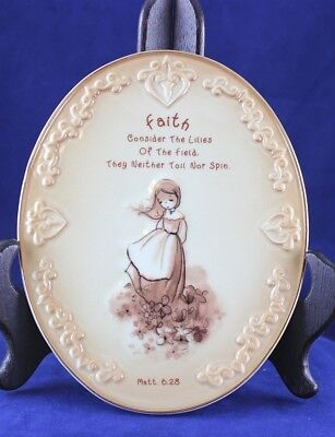 "Precious Moments Porcelain Inspirational "" FAITH "" Wall Plaque"