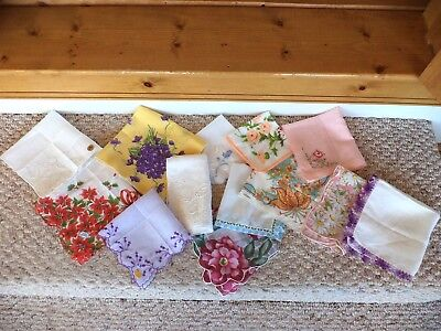Vintage Handkerchief Lot Christmas Embroidered Lace Edge Floral + Some With Tags
