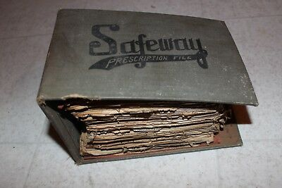Large Old Antique Prescription Book Pharmacy 1920's SAFEWAY FILE LOG