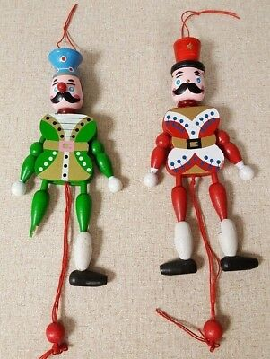 2 vtg wooden toy soldier nutcracker pull string toy puppet christmas ornaments
