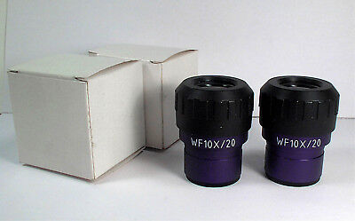 PAIR OF WF10X/20 STEREOZOOM MICROSCOPE EYEPIECES 30mm DIA FOR NIKON OLYMPUS ETC.
