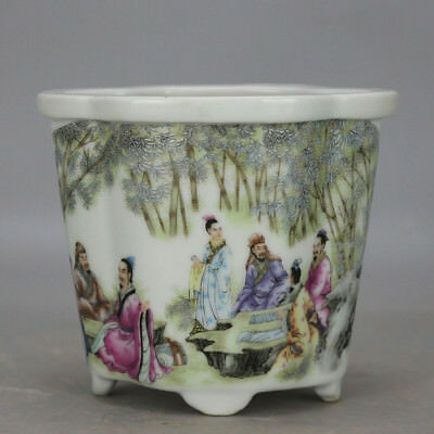 Chinese old hand-carved porcelain famille rose glaze figure pattern flowerpot H