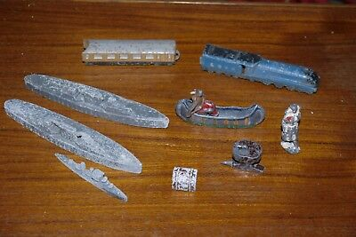 Vintage Die Cast Toy Job Lot train, battleship, canoe & anvil britains johillco?