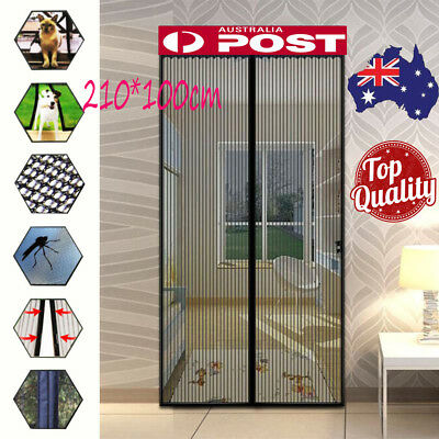 2Pcs 1 Door Magnetic Door Mesh Black Fly Screen Magic Magna Mosquito Bug Curtain
