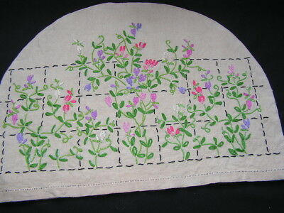 B'ful Vtg Richly Hand Embroidered Delicate Flower Irish Linen Tea Cosy Cover
