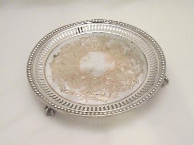A Small 19thC Silver Plate Tray on Ball & Claw Feet