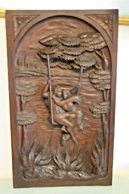 Vintage/Antique French Wooden Carved Plaque/Panel 26 1/4'' (67cm) Tall