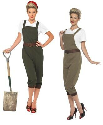 1940's Land Girl Costume Ladies WW2 Munitions Fancy Dress Army Outfit S-XL
