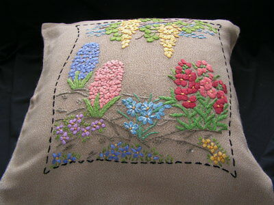 B'ful Lge Vtg Richly Hand Embroidered Colourful Hyacinth Flower Cushion Cover