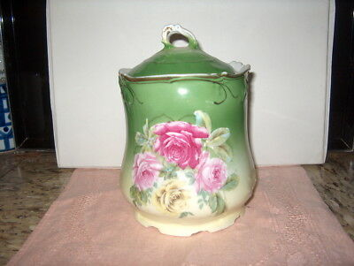 """""""biscuit Jar"""" W/lid """"antique"""" Porcelain W/lovely Pink Roses Very Good Condition"""