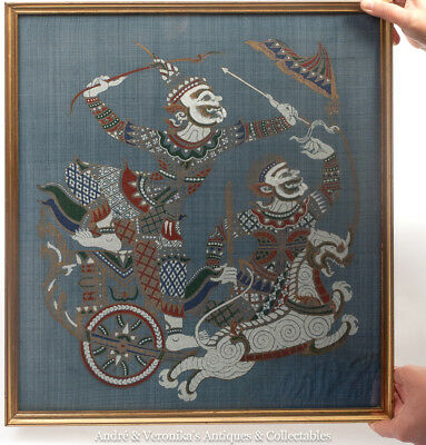 Vintage Thai Silk Screen Print HANUMAN on Chariot Framed RAMAKIEN Scene Oriental