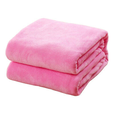 1X Coral Velvet Soft Warm Plush Dyeing Throw Sofa Plain Double Bed Blanket Gifts