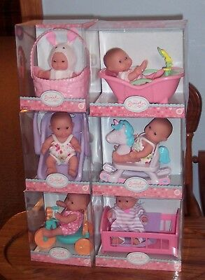 "NEW Set of 6 Berenguer Dolls Lots To Love Babies 5"" Mini Nursery PlaySets  VHTF"