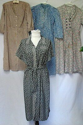 1940s 1950s VINTAGE LOT OF 4 RAYON & COTTON DAY DRESSES DRESS 4 mending /pattern