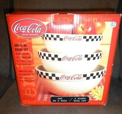 NIB Coca Cola Gibson 3 pc Mixing Serving Bowls  Diner Drive-in