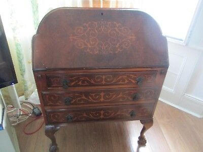 Reproduction 1960's Edwardian Mahogany Bureau in English Queen Anne Style