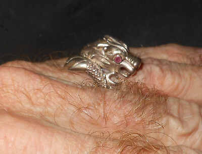 Vintage Silver Dragon ring SE Asia with  ruby eyes original 11 grs
