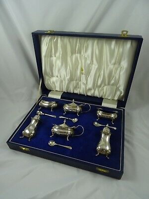 LARGE, boxed `DOUBLE` silver CONDIMENT SET, 1975, 364gm  - Mappin & Webb