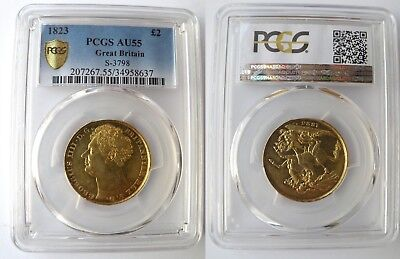 KING GEORGE THE IV 1823 GOLD £2 SOVEREIGN PCGS Graded About Uncirculated 55