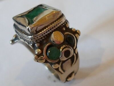 GENUINE,DETECTOR FIND, LATE ROMAN SILVER RING WITH REAL EMERALDS,POLISHED,10.4g